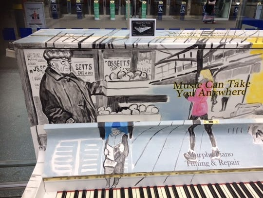 Detail of the piano at Irish Rail's Heuston Station
