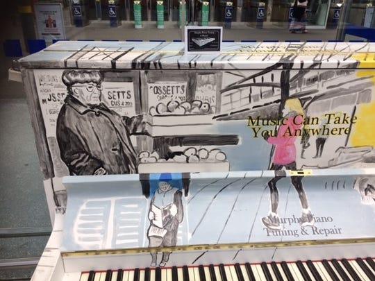 Detail of the piano at Irish Rail's Heuston Station