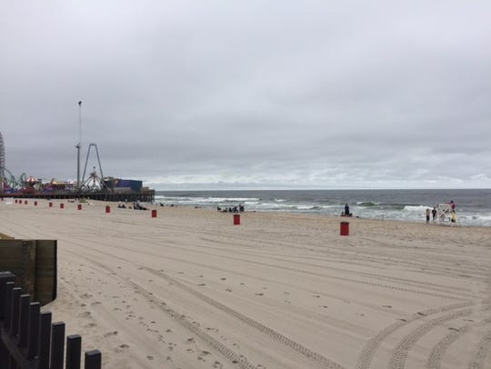 Few people ventured onto the beach in Seaside Heights