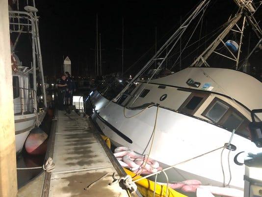 Sinking Fishing Boat Salvaged At Ventura Harbor