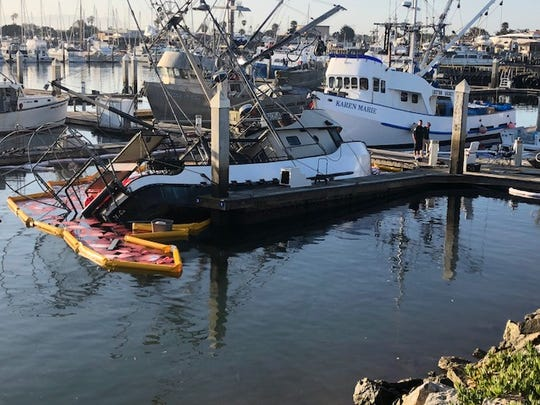 A commercial fishing vessel started to sink in its
