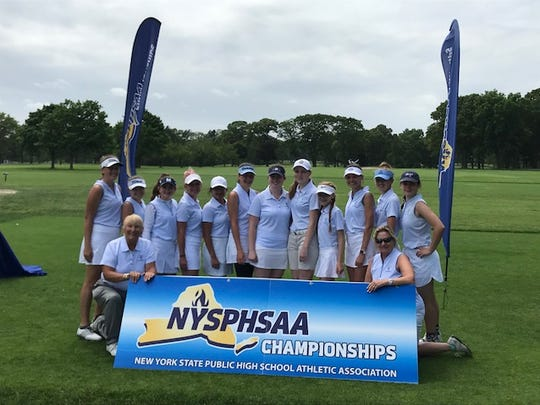 The members of the 2018 Section V girls golf state team (in order of finish): Mikah McDonnell (Webster), Claire Yioulos (Honeoye Falls-Lima), Jayde Ford (Pittsford), Julia Zigrossi (Spencerport), Michaela Eichas (Mercy), Sydney Carlo (Mercy), Athena Baronos (Harley-Allendale Columbia), Holly Ebert (Penfield), Anika Fischer (Mercy), Annie Glenning (Pittsford), Sophie Renzi (Pittsford), Kelly Yorky (Pittsford).