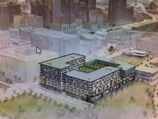 An artist's rendering of proposed mixed-use project