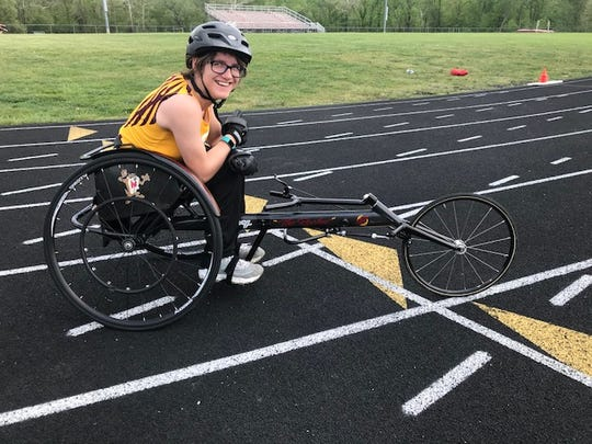 Berne Union sophomore Abi George shows off her custom-made