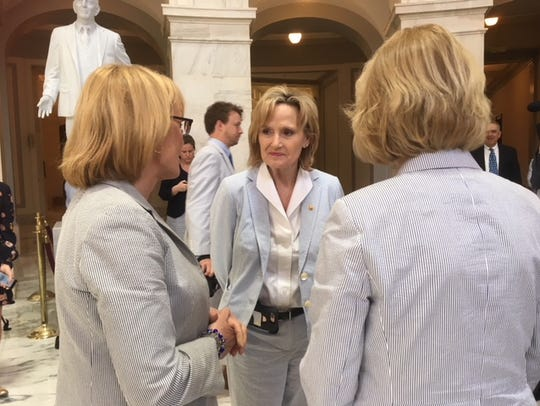 Sen. Cindy Hyde-Smith, R-Miss., joined her colleagues to celebrate National Seersucker Day on Capitol Hill in Washington, D.C., on June 4, 2018.