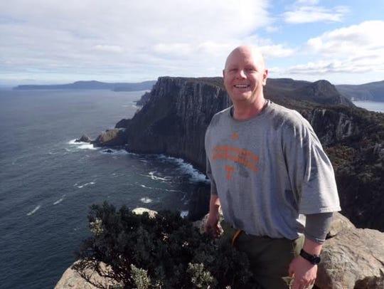 Nathan Kirkham, hiking in Tasmania, Australia, in 2016