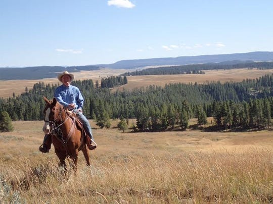Nathan Kirkham mounted on Morse in Hayden Valley, Yellowstone National Park, 2015. With Morse, Kirkham shooed two grizzlies and 16 bison away from trail riders.