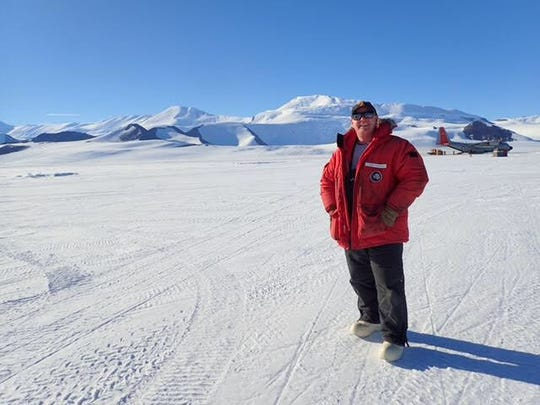 Nathan Kirkham at the Shackleton Glacier Field Camp, Antarctica, in February 2018