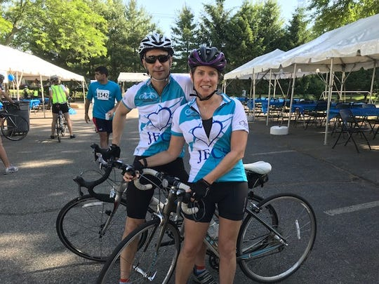 Donna and Evan Weintraub of Haworth were biking the 25-mile route
