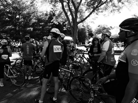 bicyclists roll out for a good cause in Rockleigh.