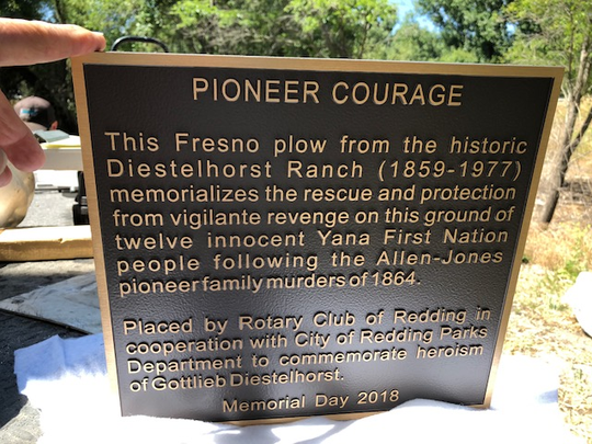 This is the plaque that the Rotary Club of Redding wanted to put in Diestelhorst Landing park on Memorial Day.
