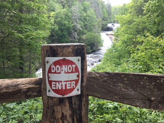 This sign at Triple Falls in DuPont State Recreational Forest is pretty clear.