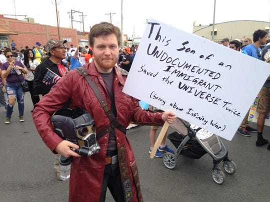 Shawn Gealow, of Las Cruces, was at the El Paso rally dressed as Star-Lord, a fictional super hero character, who, Gealow said, is an immigrant because he's the son of an alien and a human.
