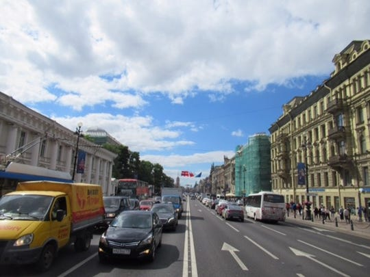 A view down always-busy Nevsky Prospekt, the Michigan Avenue of Saint Petersburg, Russia.