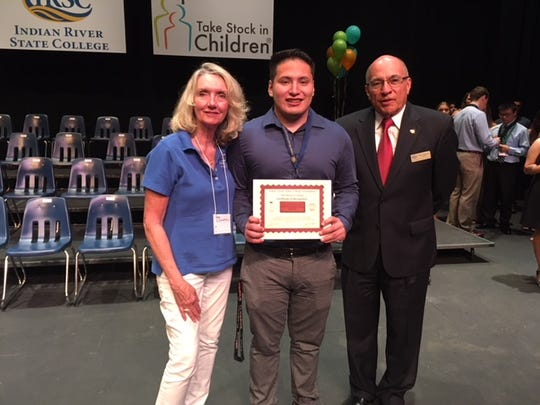 """Pam O'Donnell with """"Take Stock in Children"""" winner"""
