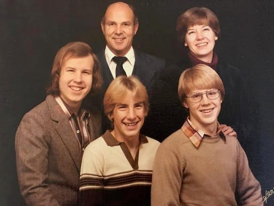 Jerry Landrum, top left, and Velma Landrum, top right, both attended NMSU as chemistry majors and eventually served as chemists in the Lawrence Livermore National Laboratory. Pictured with the duo are their three sons.