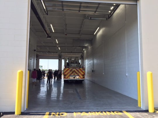 The new aerial truck bay at Union Township Fire Department