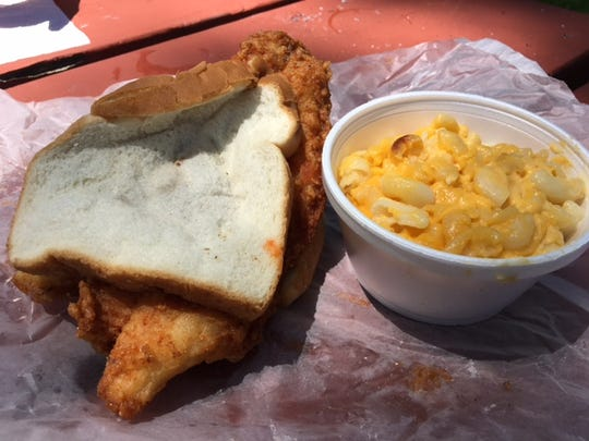 The Catfish Sandwich and mac-n-cheese at Figgs Burgers
