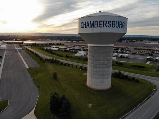 A water tower serving Chambersburg.