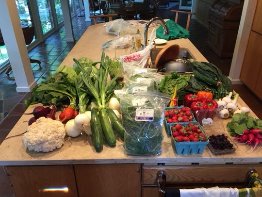 Here is one haul from the farmers market where Dr.