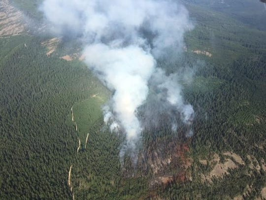 The Ten Mile fire burns in the Kootenai National Forest