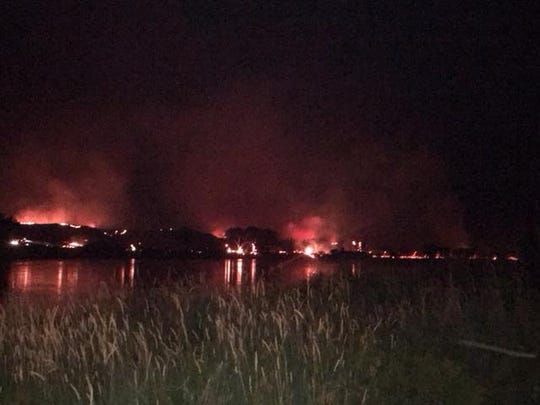 A fire on the south side of the Missouri River near