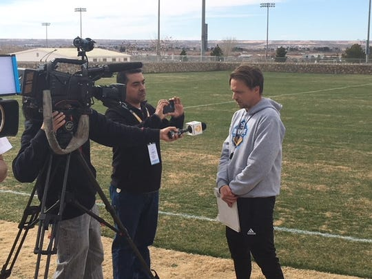 El Paso Locomotive coach Mark Lowry visits with the media after Monday's training session at the Westside Soccer Complex