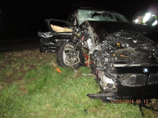 One of the cars involved in a fatal head-on crash on I-5 early Tuesday.