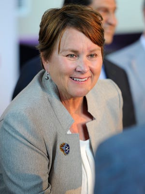Titans co-owner Amy Adams Strunk attends an announcement that the Titans and Nissan have entered a twenty year agreement to name the stadium, Nissan Stadium, Thursday June 25, 2015, in Nashville, Tenn.