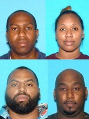 (Top, from left) James Lamont Tutt, 43, of Somerset, Shanel Terry, 35, of Somerset, (bottom from left) David Terry, 34, of Newark, and David Dunaway, 42, of Irvington