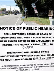 "Original Public Hearing sign in front of ""Bloomingdale"" along East Market Street in Springettsbury Township (2015 Photo, S. H. Smith)"