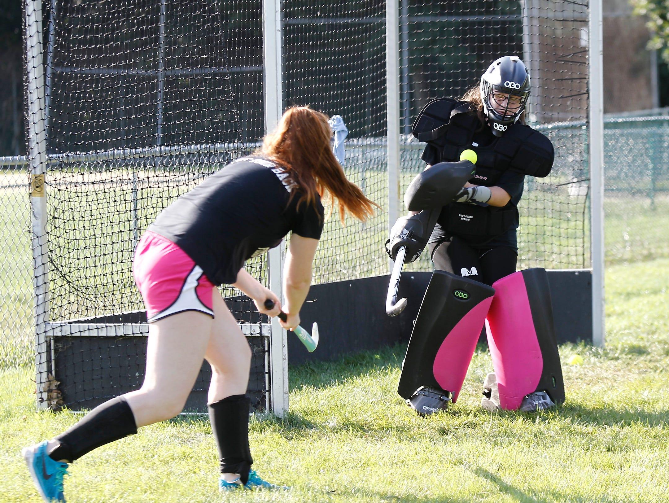 Nanuet goalie Jenn Franchino makes a save during field hockey practice at Nanuet High School in Nanuet on Thursday, August 25, 2016.