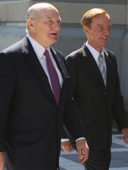 Jamie Fox, right, and attorney Michael Critchley entering the federal courthouse in Newark last year. Fox was appearing in the bribery case involving former Port Authority Chairman David Samson.