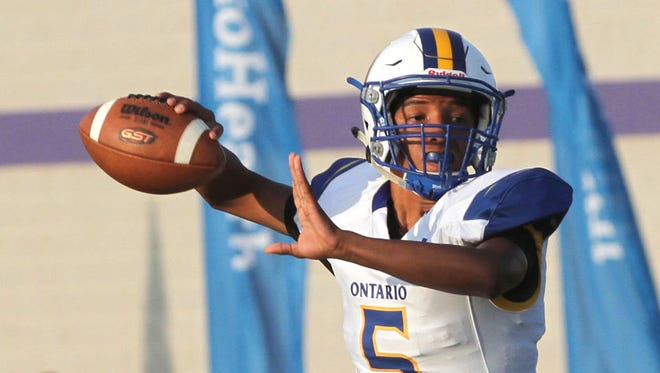 Ontario's Cameron Todd throws a pass in the first game of the season against Lexington.