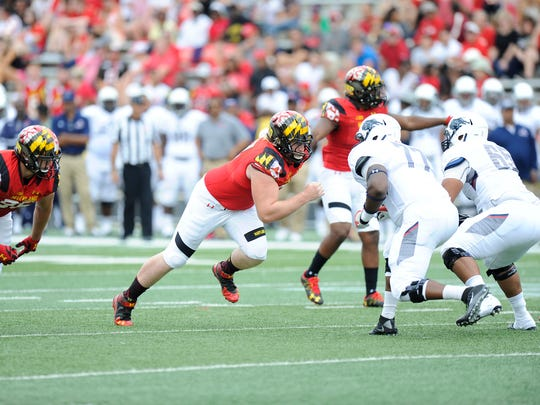 Defensive tackle David Shaw (middle) saw more significant playing time two years ago as a true freshman. Since then, he's fought through injuries and is adjusting to a new coaching staff at Maryland.