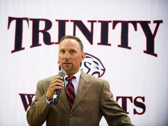 Trinity head football coach Barry Loyal speaks after being announced as Trinity's head football coach on Friday, April 28, 2017, in Montgomery, Ala.