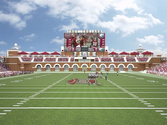 This artist's rendering shows plans for a $24 million expansion of Veterans Memorial Stadium at Troy University.