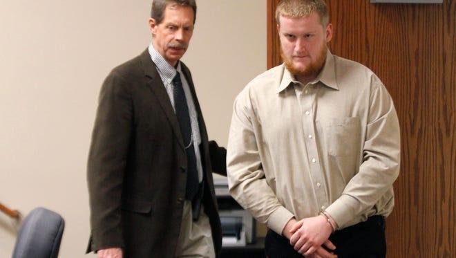 Dylan Meyer enters Judge David Jones' courtroom Wednesday.