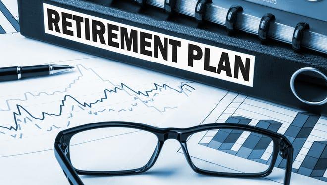 retirement plan label on document folder.