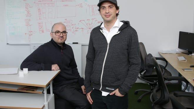 Whisper editor in chief Neetzan Zimmerman and co-founder Michael Heyward in the Santa  Monica, Calif., Whisper garage.