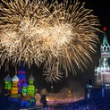 Fireworks explode over Russia's St. Basil Cathedral, left, and Spasskaya Tower as international military bands perform during the closing ceremony of the International Military Orchestra Music Festival on Sept. 7 at Red Square in Moscow.