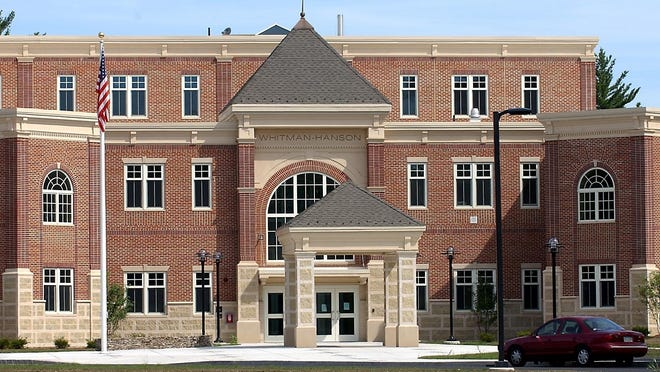 This 2005 file photo shows the exterior of Whitman-Hanson Regional High School.