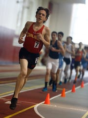 Carlisle freshman Brayden Kessler competes in the 3,200-meter run. Kessler finished 39th in a field of 63. The Central College Boys High School Meet was held March 15.