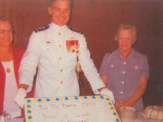 Richard Gale Pierce celebrates his retirement from the Coast Guard two weeks after his wife's disappearance in 1975. He is pictured with his mother and Carol Jean Pierce's mother. Immediately after retiring he took the trailer he and his wife had lived in and moved to Cheboygan, Mich.