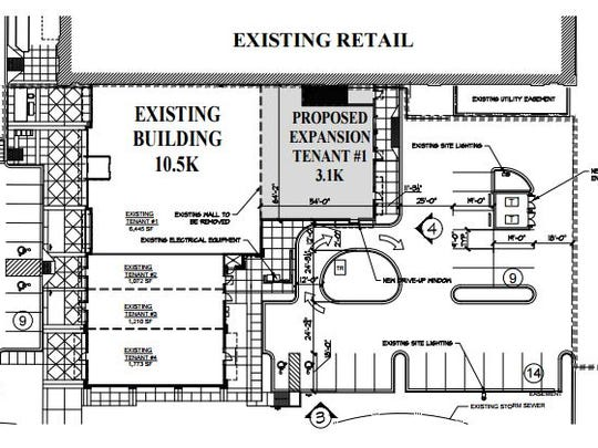 This drawing outlines plans for an expansion at Bullfrog Wine & Spirits on North College Avenue.