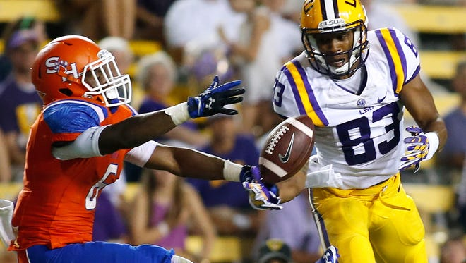 LSU wide receiver Travin Dural (83) has missed two days of practice due to stitches from a weekend traffic accident.