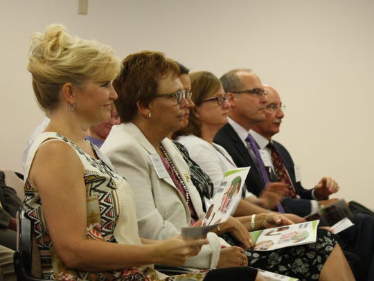 Members of Blackburn's 10-person cabinet, which comprises the district's most senior staff. From left to right: Human resources director Carol Tolx, chief financial officer Pennie Zuercher, assistant superintendent of student services Beth Thedy, chief operating officer Mark Mullins and assistant superintendent of facilities Dane Theodore.