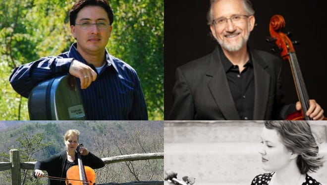 Cellists Joel Becktell, Jorge Espinoza, Lisa Donald, Erin Espinoza and John Cox are all scheduled to perform during the Shady Pines Chamber Players concert in Cloudcroft on July 15.
