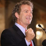 Republican presidential candidate Sen. Rand Paul addresses the Baltimore county Republican Party's annual Lincoln/Reagan Dinner on June 9.