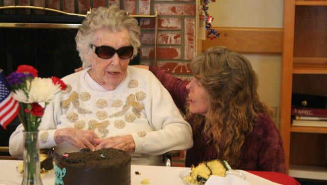 Bernice Lee, who turned 100 on Nov. 13, celebrated her birthday on Nov. 11 with family members, including her granddaughter Susan Palmer, in Yerington.
